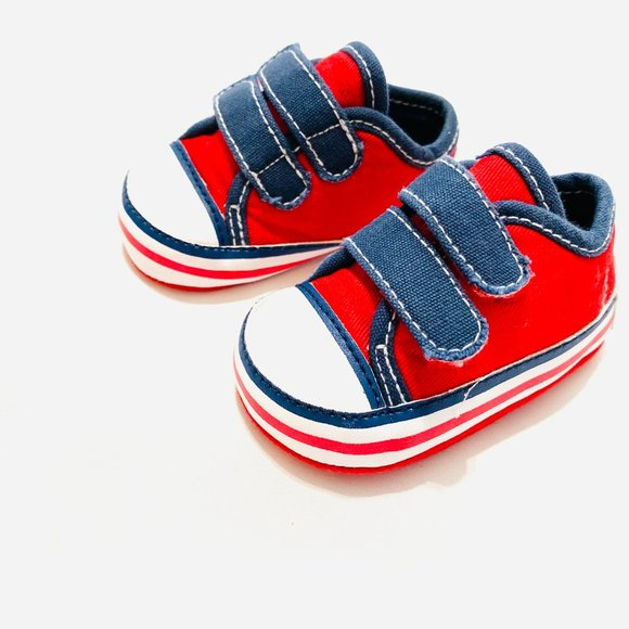 Flapdoodles Red Velcro Strap Crib Sneakers